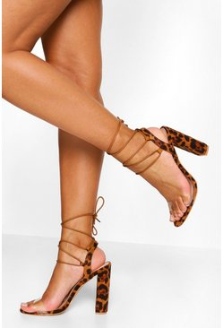 Leopard multi Wrap Up Strappy Block Heels