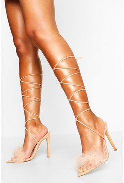 Nude Pointed Toe Feather Trim Wrap Up Heels