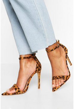 Leopard Pointed Toe Barely There Heels