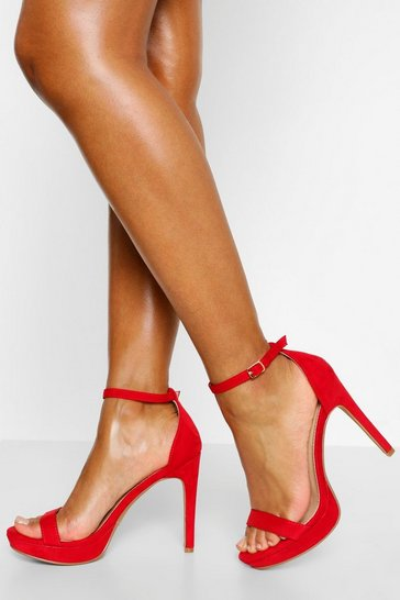Red Stiletto Heel Platform Two Parts