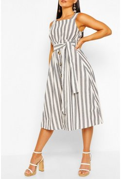 Blue Striped Cross Over Button Front Dress