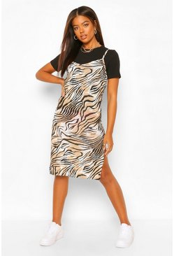 Brown Tiger Print Jersey Midi Slip Dress