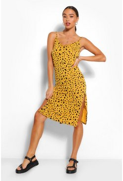 Mustard yellow Smudge Print Jersey Slip Midi Dress