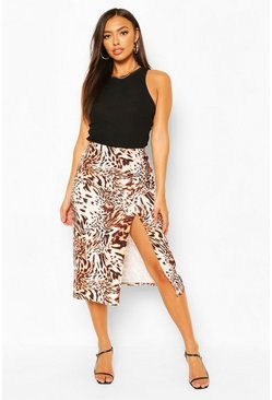 Brown Animal Print Side Split Midi Skirt