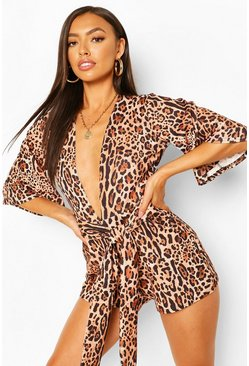 Brown Animal Print Plunge Playsuit