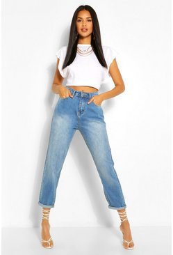 Mid blue blue Turn Up Hem Mom Jeans