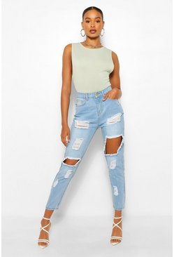 Blue Heavily Distressed Straight Leg Jeans