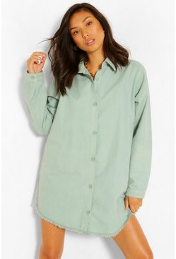 Sage Fray Hem Oversized Denim Shirt Dress