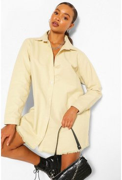 Stone beige Fray Hem Oversized Denim Shirt Dress