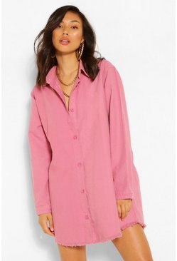 Baby pink Fray Hem Oversized Denim Shirt Dress