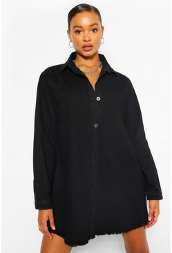 Black Fray Hem Oversized Denim Shirt Dress