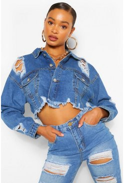 Mid blue blue Distressed Crop Denim Jacket