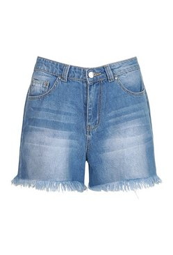 Mid blue Fray Hem Denim Short