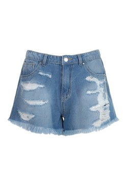 Mid blue Distressed Fray Hem Denim Short