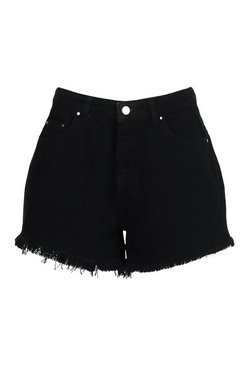 Black Fray Hem Denim Short