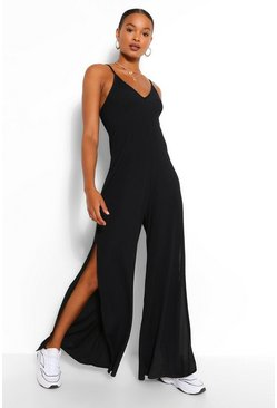 Black Ribbed Strappy Oversized Split Leg Jumpsuit