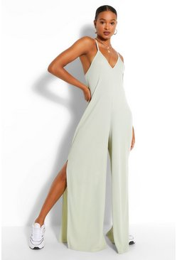 Sage green Ribbed Strappy Oversized Split Leg Jumpsuit