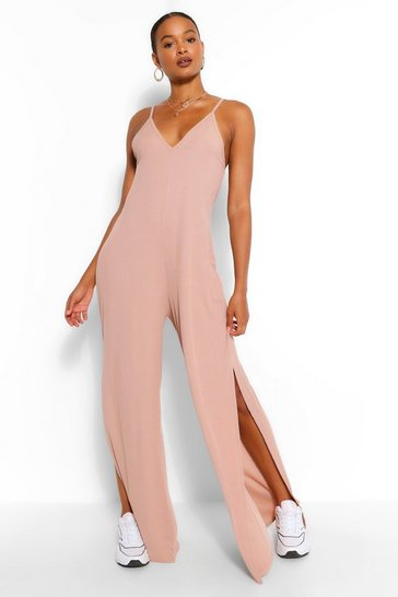 Stone beige Ribbed Strappy Oversized Split Leg Jumpsuit