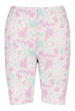 Lilac Pastel Tie Dye High Waist Cycling Shorts