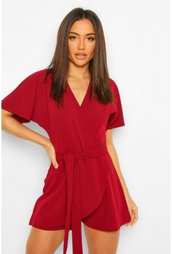 Berry V Neck Wrap Belted Skort Playsuit