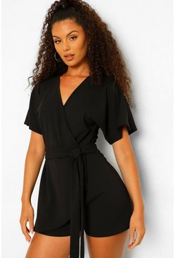 Black V Neck Wrap Belted Skort Playsuit