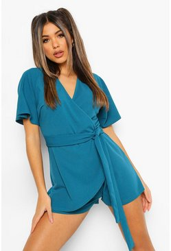 Teal green V Neck Wrap Belted Skort Playsuit