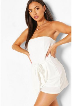 White Bandeau Belted Layered Playsuit