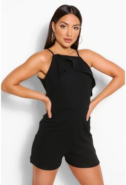 Black Strappy Frill Detail Playsuit
