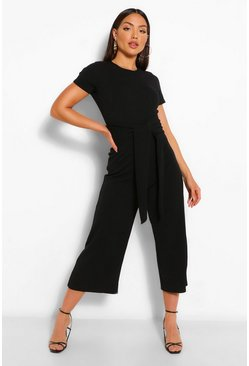 Black Wrap Waist Short Sleeve Wide Leg Jumpsuit