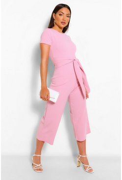 Light pink pink Wrap Waist Short Sleeve Wide Leg Jumpsuit