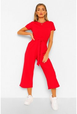 Red Wrap Waist Short Sleeve Wide Leg Jumpsuit
