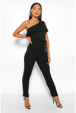 Black One Shoulder Ruffle Belted Jumpsuit