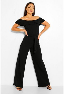 Black Layered Ruffle Wide Leg Belted Jumpsuit