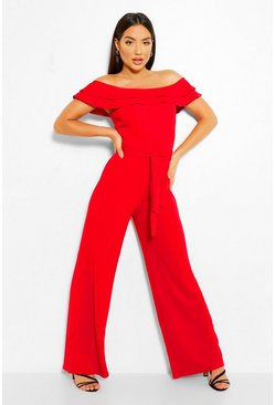 Red Layered Ruffle Wide Leg Belted Jumpsuit