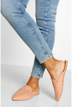 Nude Wide Fit Stud Detail Mule Loafer