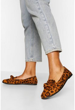 Leopard multi Wide Fit Knot Front Loafer