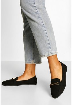 Black Wide Width Metal Bar Loafer