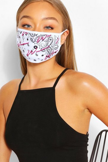 White Woman Paisley Fashion Face Mask