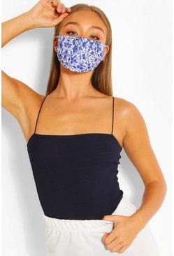 Blue Ditsy Print Fashion Face Mask