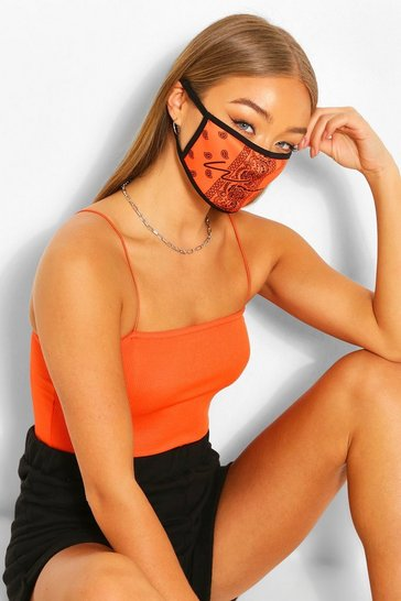 Orange Woman Paisley Fashion Face Mask