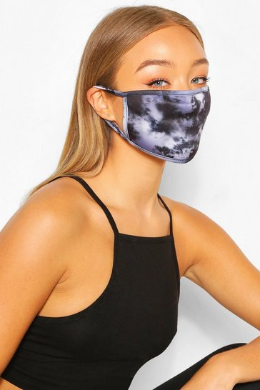 Black Mono Tie Dye Fashion Face Mask