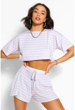 Grey Pastel Stripe T-shirt & Flippy Shorts Co-ord