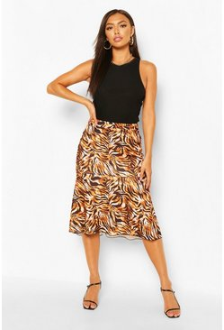 Brown Tiger Print Midi Peplum Skirt