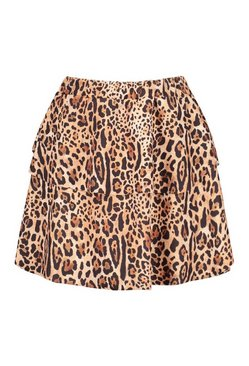 Brown Animal Print Tiered Skater Skirt