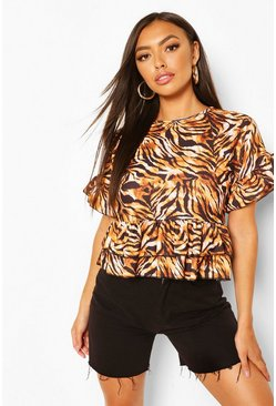 Brown Tiger Print Round Neck Frill Hem Top