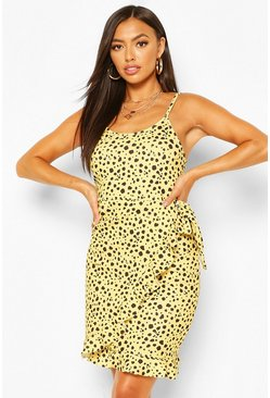 Animal Spot Print Strappy Wrap Mini Dress, Yellow gelb