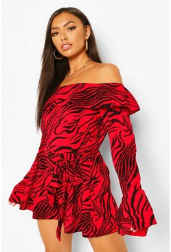 Red Zebra Print Off The Shoulder Ruffle Belted Playsuit