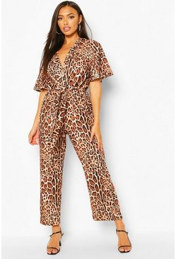 Brown Animal Print Tie Detail Wide Leg Jumpsuit