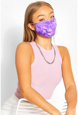 Camo Fashion Face Mask , Lilac