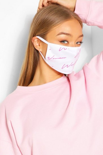 White Woman Script Fashion Face Mask